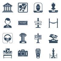 Conjunto de ícones do Museu Flat preto