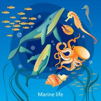 Ocean Underwater Life Illustration