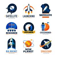 Space Logo Emblems Set