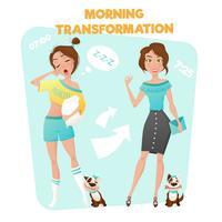 Cartel de la transformación de la muchacha de la mañana vector