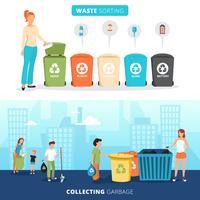 Set di banner piatto di riciclaggio di smistamento dei rifiuti