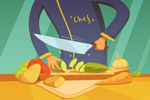 Slicing Vegetables Illustration