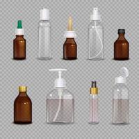 Botellas realistas sobre fondo transparente