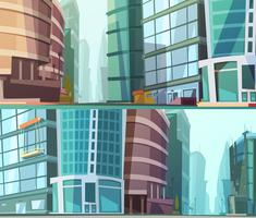 Modern Buildings Otdoor 2 Banners Set