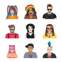 Subcultures People Icons Set