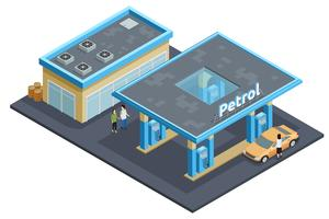 Gas Station Complex Isometric Image Poster