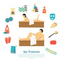 Bad Sauna Familiebezoek Illustratieposter