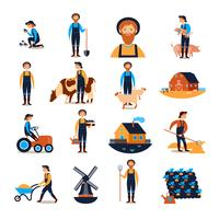 Colección de iconos planos de agricultores