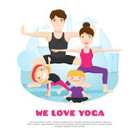 Family Practicing Yoga Cartoon Poter