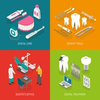 Dentist Concept 4 Flat Icons Square