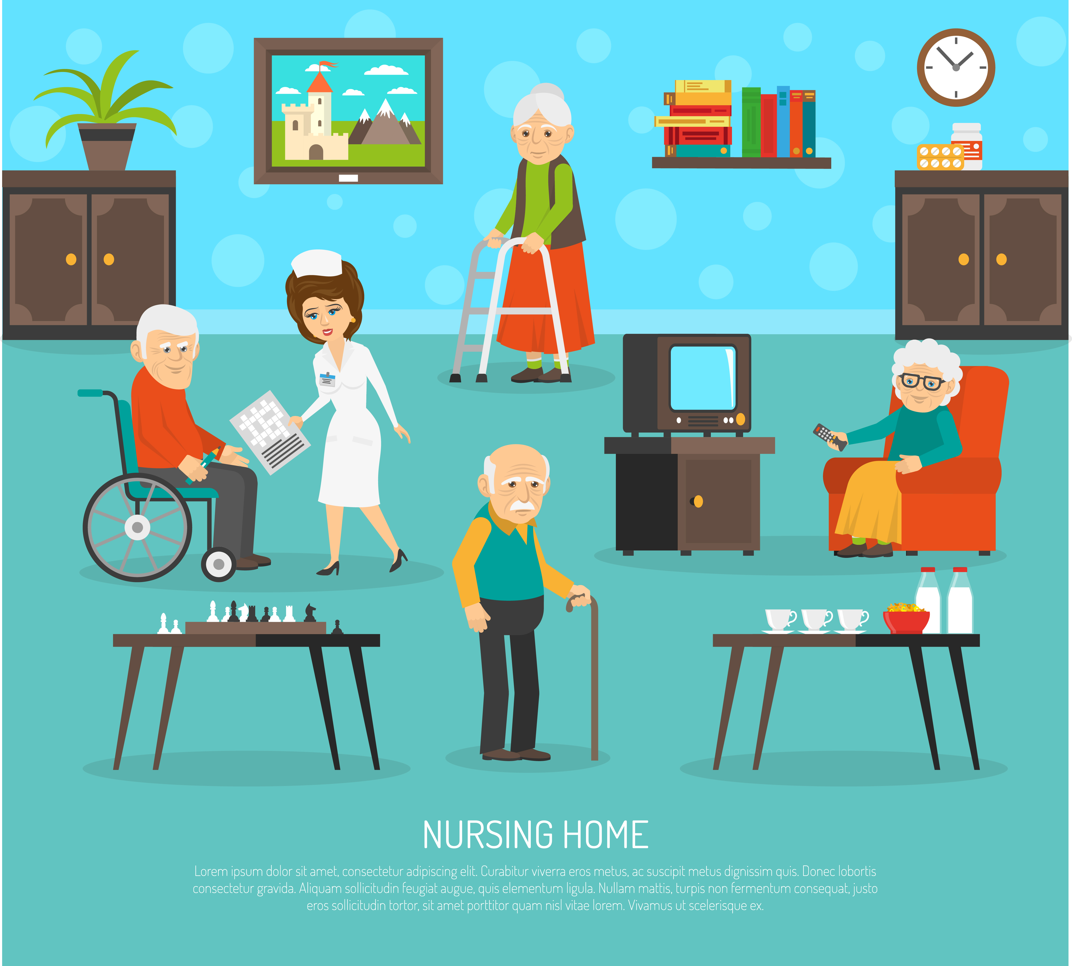 Old People Nursing Home Flat Poster Download Free Vectors Clipart Graphics Vector Art