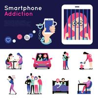 Smartphone Addiction Flat Banners Set