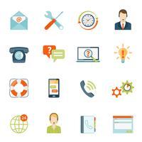 Entre em contato conosco conjunto de ícones de suporte ao cliente