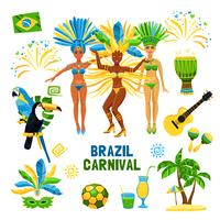 Brasilien Karneval isoliert Icon Set