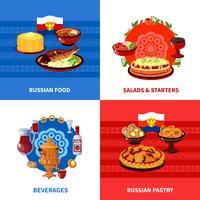 Comida russa 4 ícones quadrados plana