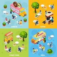 rua comida isométrica 4 ícones quadrados