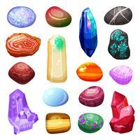 kristall sten stenar ikoner uppsättning