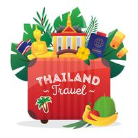 Thailand Travel Flat Symbols Composition Poster