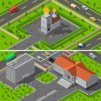 Church State Building Isometric 2 Banners