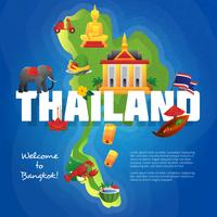 Cartel plano del mapa de los símbolos culturales de Tailandia