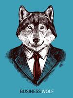Affiche de loup d'affaires dessiné à la main