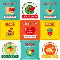 Caridad emblemas diseño plano iconos composición
