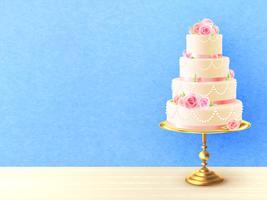 Wedding Cake With Roses Realistic Image