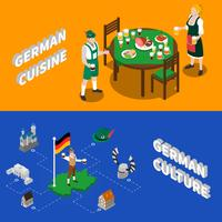 German Culture For Tourists Isometric Banners  vector