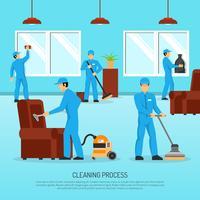 Affiche plate de travail en équipe de nettoyage industriel