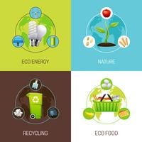 Set Of Ecology Concept Illustrations