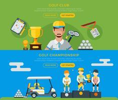 Clube de golfe e bandeiras do campeonato