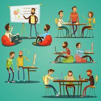 Conjunto de desenhos animados retrô de Coworking