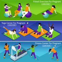 Conjunto de Banners de Fitness de mulheres grávidas