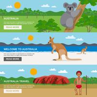 Australia Travel Horizontal Banners Set vector