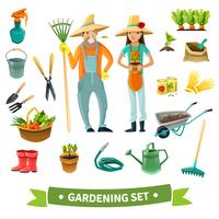 Gartenarbeit-Karikatur-Satz