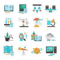 Set di icone di attrezzature scientifiche