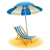 Deck Chair With Umbrella Illustration