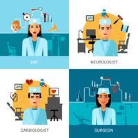 Conjunto de conceito de médicos especialistas