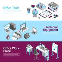 Office Work Place Isometric Banners Set