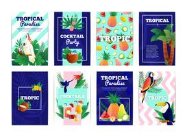 Conjunto de tarjetas de Banners tropicales