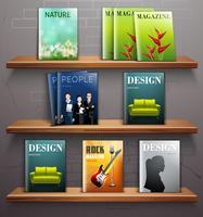 Revistas nas prateleiras
