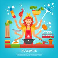 Multitasking Housewife With Eight Hands