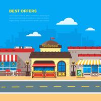 Best Offers Cafe And Restaurant Flat Illustration