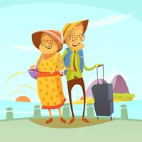 Senior Couple Traveling Illustration  vector