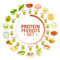 Protein Containing Products Flat Circle Diagram  vector
