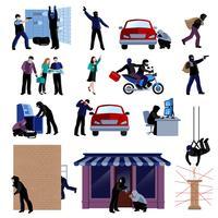 Conjunto de iconos planos de ladrón