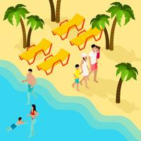 Family Tropical Beach Vacation Isometric Banner