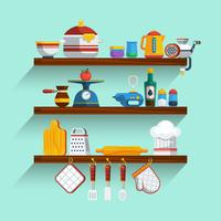 Kitchen Shelves Set vector