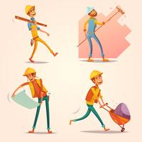 Construction Builder Retro Cartoon icons Set
