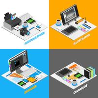 Design gráfico conceito conjunto isométrico